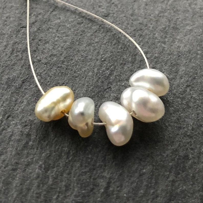 Set of 5 South Sea Golden Cream Saltwater Keshi Pearls RARE AAA