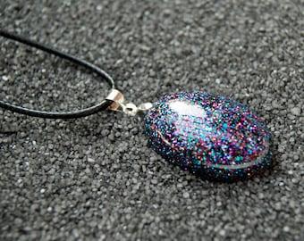 Black Multi-colored Glitter Oval Necklace