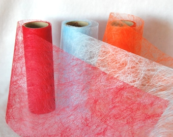 Fiber SILK in red, light blue, orange