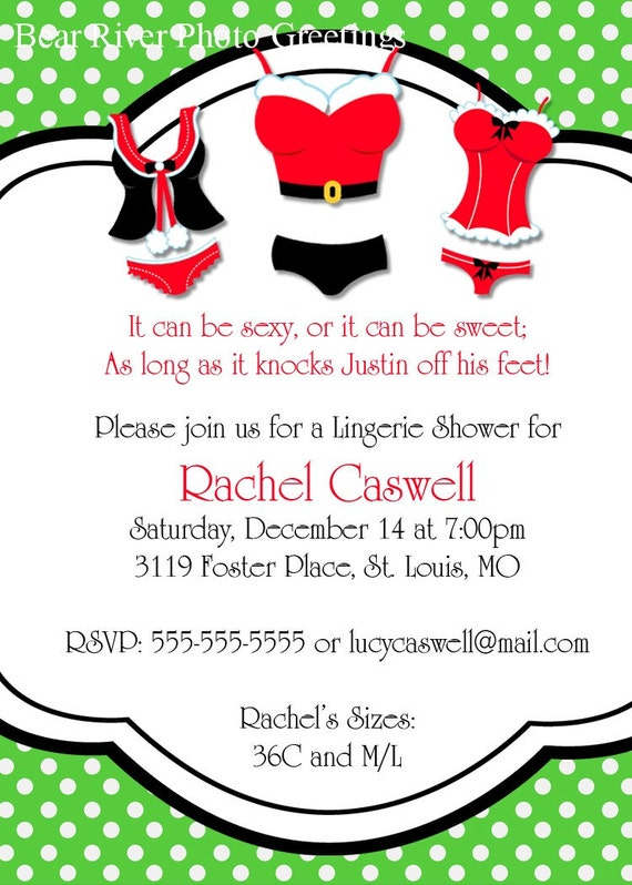 Items similar to Christmas Lingerie Shower Invitation ...