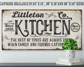 Personalized - Kitchen Best of Times - Large Farmhouse Canvas (Not Printed on Metal) - Stretched on a Wood - Great Dining Room Kitchen Decor