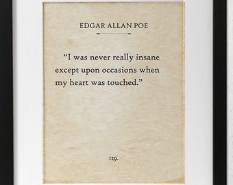 Edgar Allan Poe - I Was Never Really Insane - 11x14 Unframed Book Page Print - Great Gift/Decor