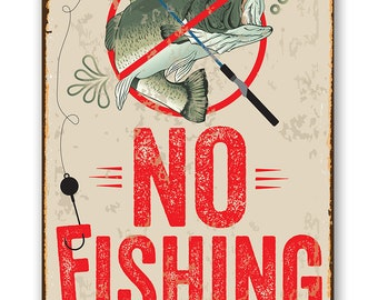 I Love IT When My Wife Lets ME GO Fishing Metal TIN Embossed Sign Fisherman Fun