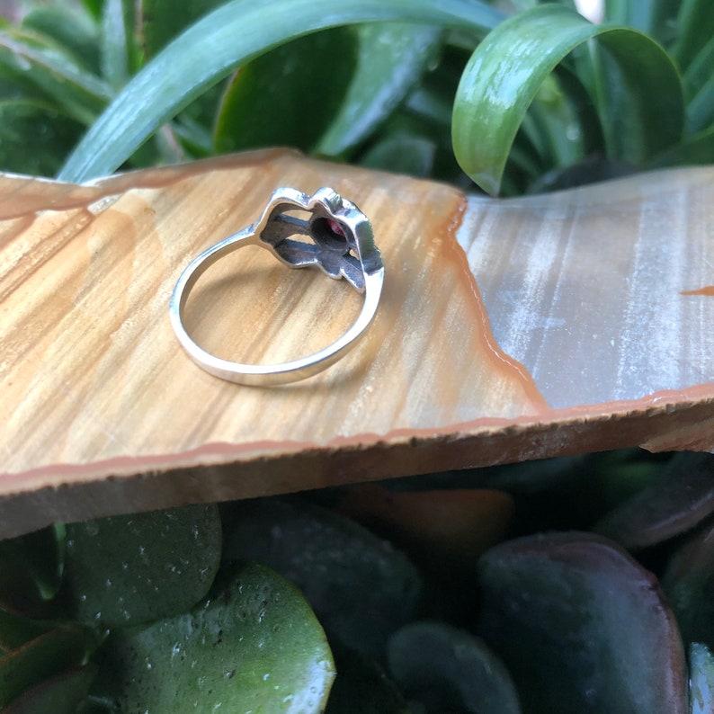 Vintage Garnet Ring Garnet and Marcasite Ring Vintage Rings Vintage Art Deco Ring Red Garnet Size 7 925 Silver Ring