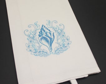 Seashell Embroidered Cotton Kitchen Dish Hand Tea Towel