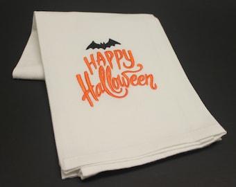 Happy Halloween Embroidered Cotton Kitchen Hand Tea Towel