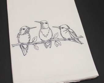 Hummingbird Social Embroidered Cotton Kitchen Dish Hand Tea Towel