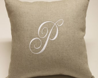Single Initial Monogram Embroidered Oatmeal Linen and Cotton Accent Decorative Pillow Cover