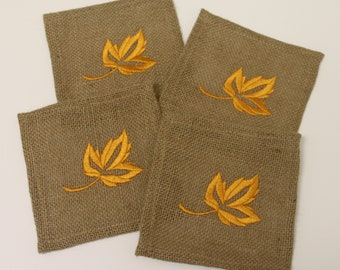 Autumn Fall Harvest Thanksgiving Rustic Leaf Embroidered Beverage Cocktail Coffee Mug Drink Burlap Table Coasters