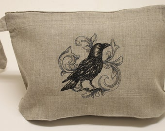 Baroque Crow Skull Bat Cat Owl Rose Embroidered Natural Linen Lingerie Travel Cosmetic Gift Bag