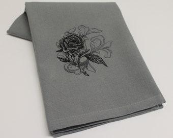 Baroque Rose Crow Skull  Bat Cat Owl Embroidered Cotton Kitchen Dish Hand Tea Towel