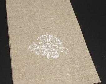 Damask Seashell Embroidered Natural Linen Kitchen Bath Guest Hand Tea Towel