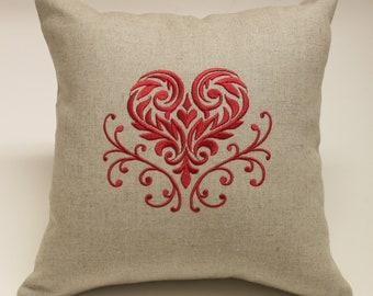 Damask Heart Embroidered Oatmeal Linen and Cotton Accent Decorative Pillow Cover