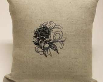 Baroque Rose Crow Skull Bat Cat Owl Embroidered Oatmeal Linen and Cotton Accent Decorative Pillow Cover