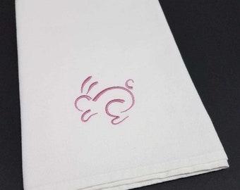 Bunny Embroidered Cotton Napkins