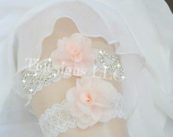 Pink Garter Set, Blush Garter Set, Wedding Garter Set, Ivory Garter, Rhinestone garter,Vintage Inspired Garter Set