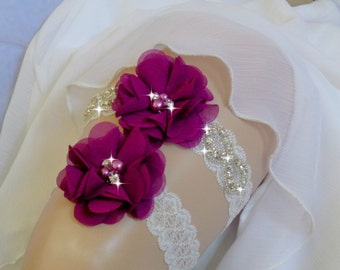 Plum Purple Garter Set, Wedding Garter Set, Ivory Garter, Rhinestone garter,Vintage Inspired Garter Set