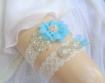 Something Blue,Bridal garter set, Wedding Garter set,  Ivory Garter Set,Blue Garter, Rhinestone garter,Vintage Inspired Garter,Light Blue