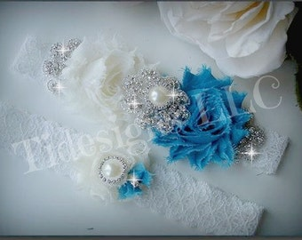 Peacock/ Malibu Blue Garter Set / Wedding Garter Set, Rhinestone garter,Vintage Inspired Garter Set,Something Blue