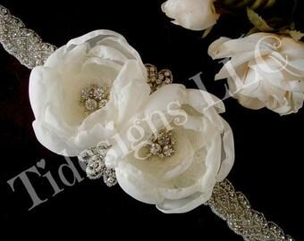 Bridal Sash Belt ,  Beaded Sash, Flower Sash, Ivory Sash, Rhinestone Bridal Sash
