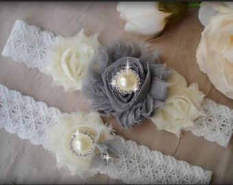 Wedding Garter Set, Swarovski Crystal garter, Flower Garter, Ivory Bridal Garter Set, Gray Garter set