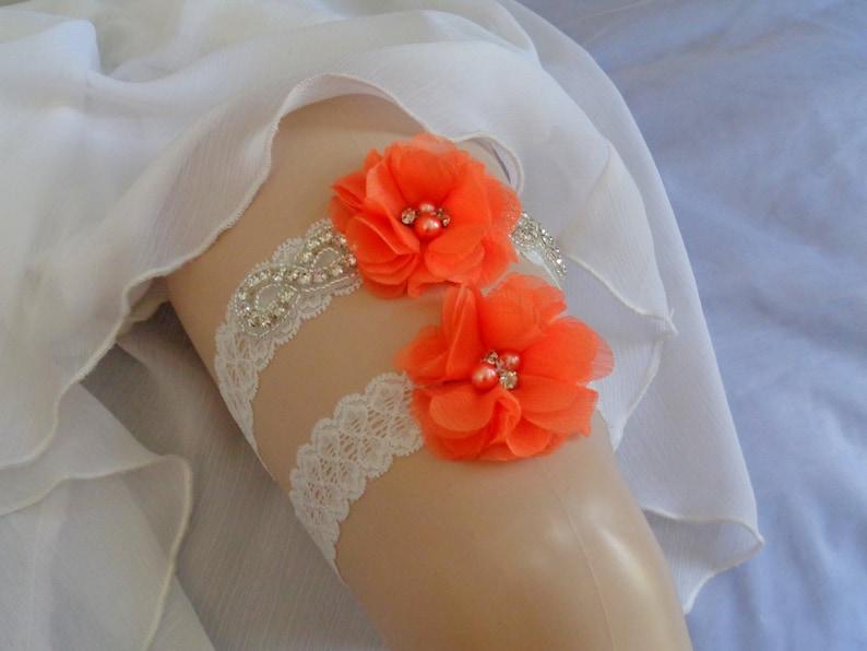 Bright Orange Garter Set Rhinestone garter,Vintage Inspired Garter Set Ivory Garter Wedding Garter Set