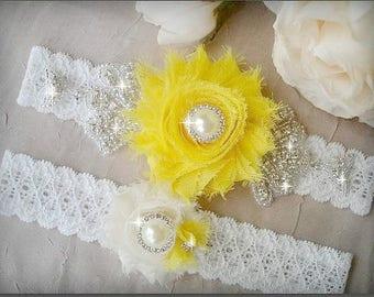 SALE/ Fast Shipping / Wedding Garter Set, Ivory Garter, Rhinestone garter,Vintage Inspired Garter Set, Yellow Garter Set