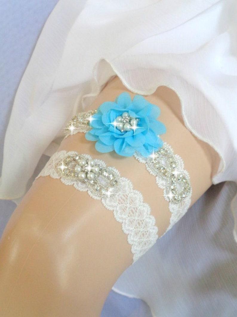 Ivory Garter Set Ivory Garter Aqua Blue Bridal garter set Something Blue Rhinestone garter,Vintage Inspired Garter Wedding Garter set