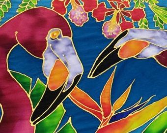 Tropical Paradise Birds Silk Painting