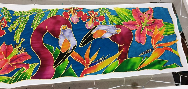 Tropical Paradise Birds Silk Painting image 0