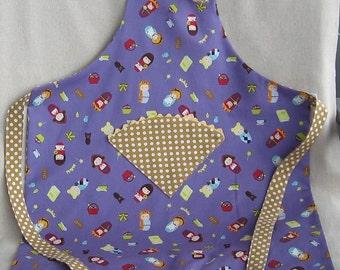 Child's Reversible Apron - Dolls on Lavender