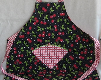 Child's Reversible Apron - Cherries in  Red and Black