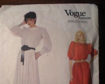 Vintage Vogue Paris Original Yves Saint Laurent 2989 1970s 70s Misses Top and Skirt Pattern