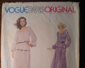 Vintage Vogue Paris Original Christian Dior 1836 1970s 70s Blouse and Skirt Pattern