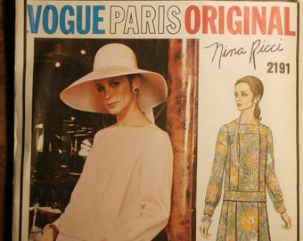 Vintage Vogue Paris Original Nina Ricci 2191 1970s 70s Dress Pattern