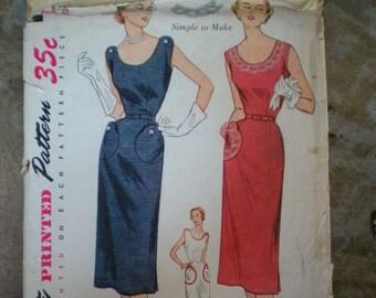 Vintage 1951 Simplicity 3608 Dressy One Piece Dress Pattern With TRANSFER