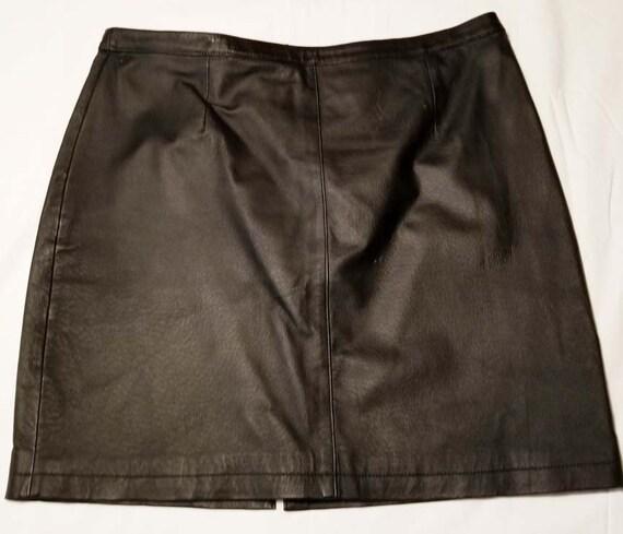 Black Leather Skirt Slightly Textured