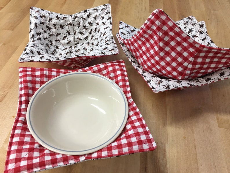 Cool Food Cozy Hot Food Cozy Reversible Bowl Cozy Ants and Tablecloth Bowl Cozy