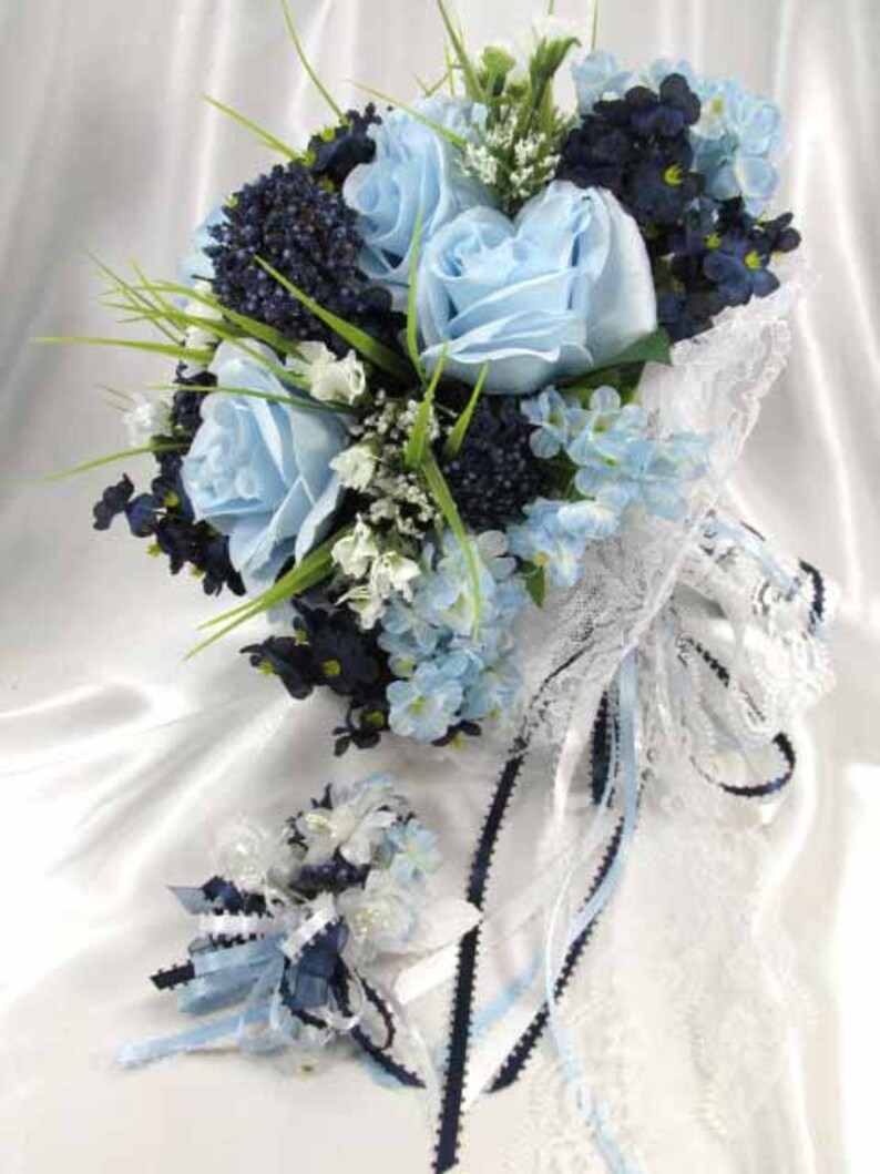 Navy and Baby Blue Serenity Bridal Cascading Bouquet and Boutonniere Set with Brooch and Pearl Accents ready to ship