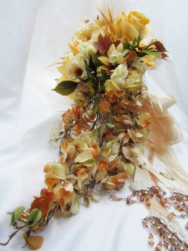 Autumn Light Golden Yellow and Pale Rust Victorian Cascading Beaded Bridal Bouquet ready to ship