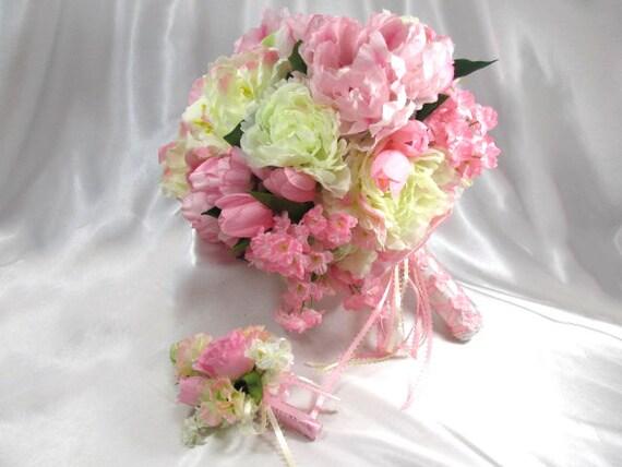 Bouquet De Mariee Et Boutonniere Rose Pale Creme Et Blanc Pret A Expedier