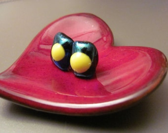 Irridescent navy with bold yellow dot fused glass earrings by Nimmy Designs