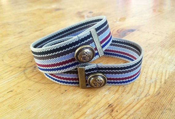 Edwardian Men's Accessories Striped Antique Brass Crimp Sleeve Garters (pair) $20.00 AT vintagedancer.com