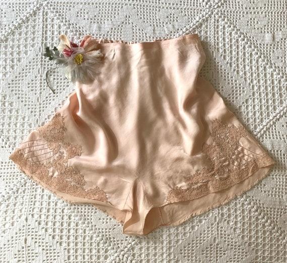 1930s 30s Silk Lace Tap Pants Panties