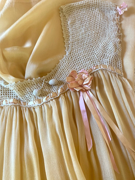 Romantic 1920s Silk Chiffon Negligee Golden Yellow
