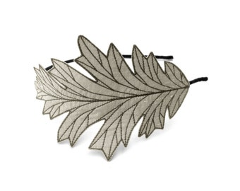 Oak Leaf Headband- Beautifully Unique Embroidered Silk Fabric Leaf Headband- Silver with Grey Embroidery