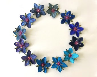 """Blue """"Scarlet Pimpernel"""" Hair Clips: (12 Shades of Blue)—Your Choice of Alligator Clip, Bobby Pin, or Brooch"""