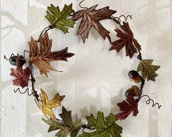 Embroidered Oak Leaf Wreath - Autumnal Browns and Greens