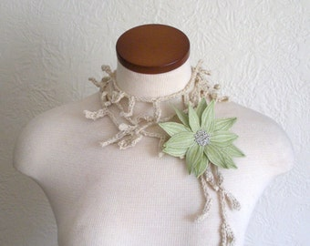 Celery Green Lotus Flower with Cream Lariat Scarf- Fiber Art Scarf- Embroidered Silk Flower Lily Clip with Crochet Scarflette