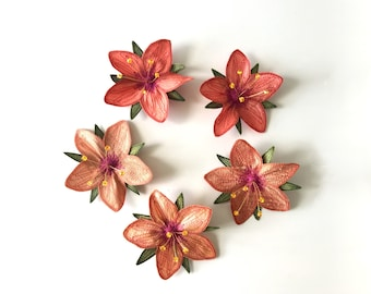 """Peach """"Scarlet Pimpernel"""" Hair Clips: (5 Shades of Peachy Orange)—Your Choice of Alligator Clip, Bobby Pin, or Brooch"""